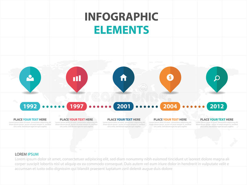 Abstract colorful pin business timeline Infographics elements, presentation template flat design vector illustration for web. Design marketing advertising stock illustration