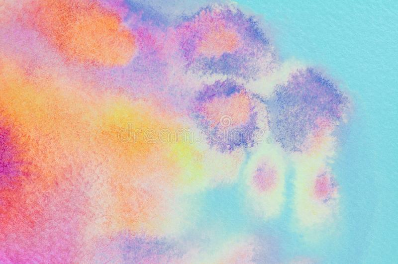 Abstract colorful pink,yellow,purple,,blue watercolors hand paint background. Detail or closeup painting brush stroke texture. Gra stock illustration