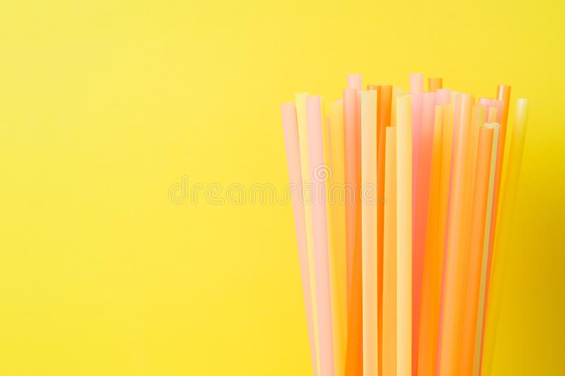 Abstract a colorful of plastic straws used for drinking water or soft drinks. Selective focus. Copy space royalty free stock photo