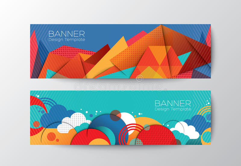 Abstract colorful polygon banner design template stock illustration