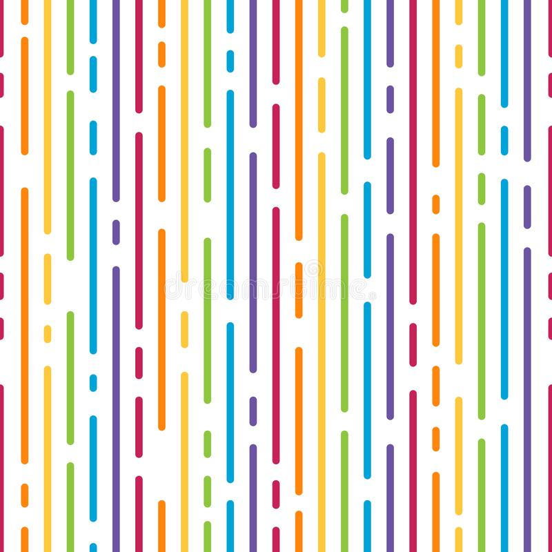 Abstract colorful rainbow dash line vertical stripes pattern samless background vector design stock illustration