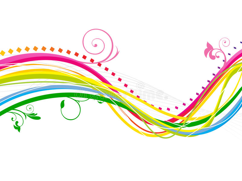 Abstract colorful rainbow line wave background stock illustration
