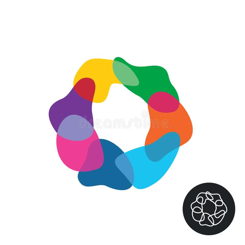Abstract colorful rainbow transparent overlay figures round logo. Color piece cells stock illustration