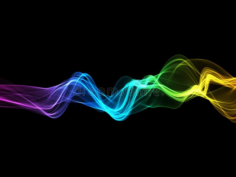 Abstract colorful rainbow wavy smoke flame over black background.  royalty free stock photos