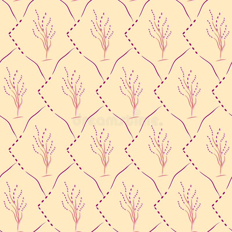 Seamless cherry blossom pattern on a yellow background vector illustration