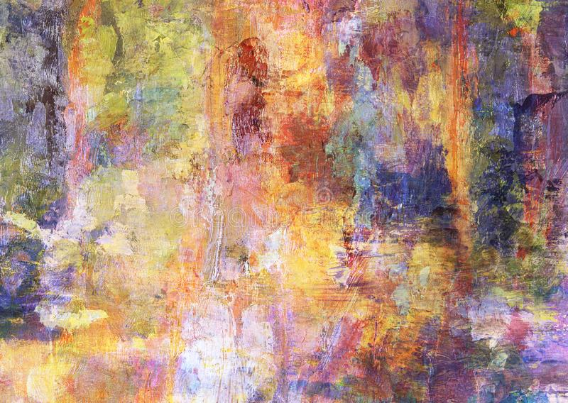 Colourful Canvas Abstract Painting Grunge Dark Rusty Distorted Decay Old Texture for Autumn Background Wallpaper stock images
