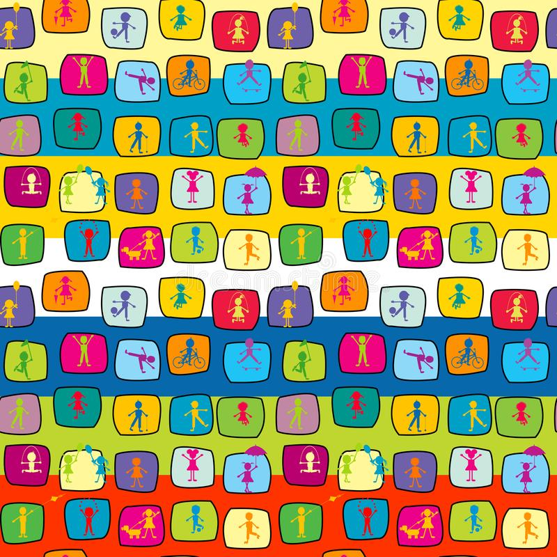 Abstract colorful seamless background with stylized kids stock illustration