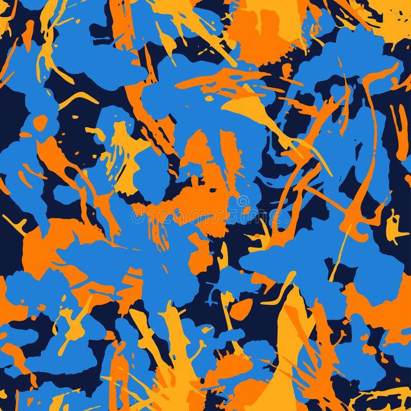 Abstract colorful seamless camouflage pattern with paint strokes and splashes elements for textile. Modern grunge background vector illustration