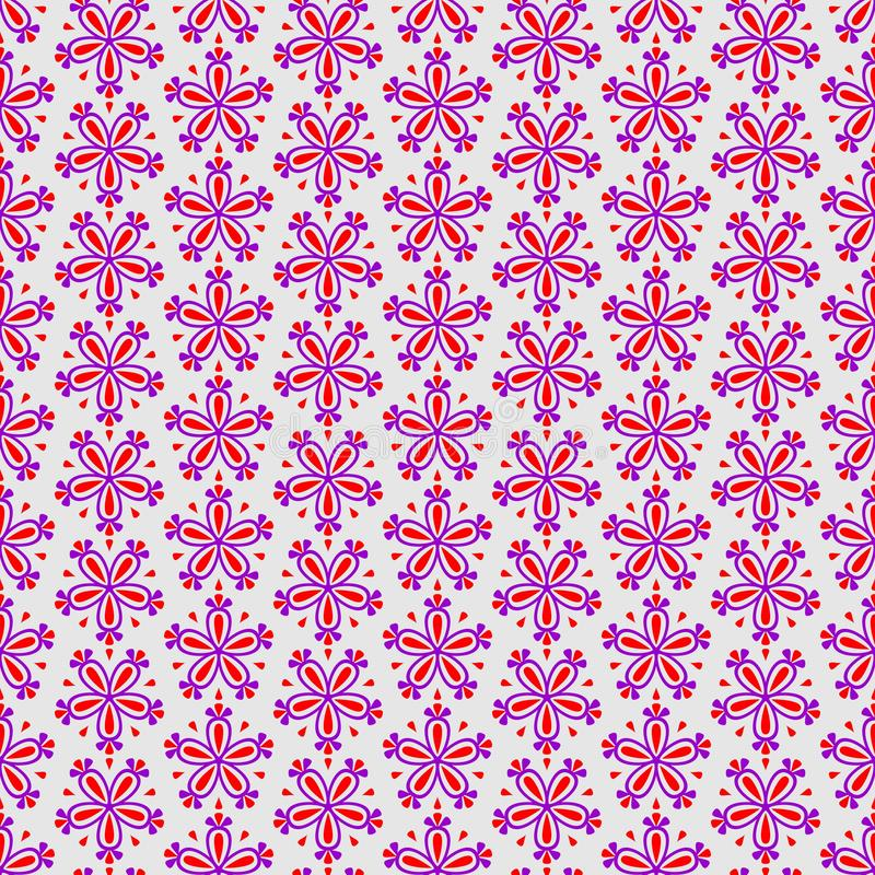 Abstract colorful seamless floral vector pattern with pink flowers on grey background stock illustration