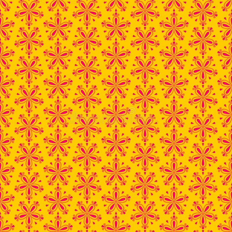 Abstract colorful seamless floral vector pattern with red flowers on yellow background. For seamless decoration wallpaper royalty free illustration