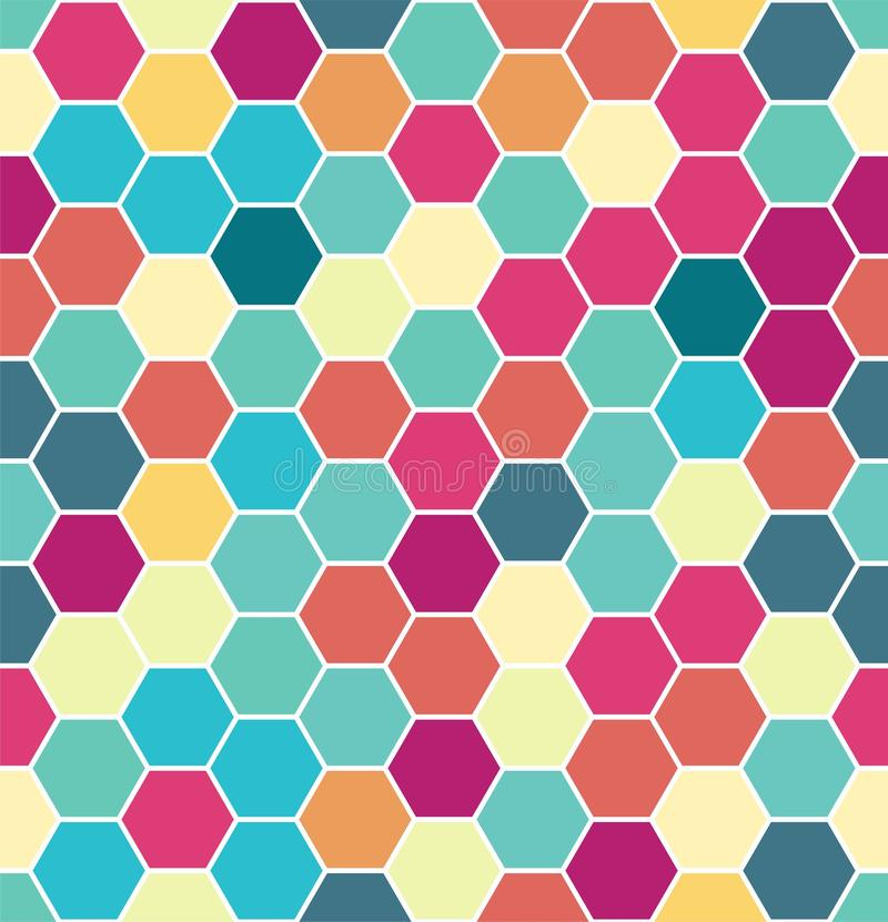 Abstract colorful seamless hexagon pattern. Repeating luxury background.  stock illustration