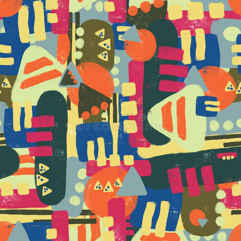 Abstract Colorful seamless pattern with different shapes. Fun abstract texture with abstract dots, triangles, blocks. Fun modern stock image