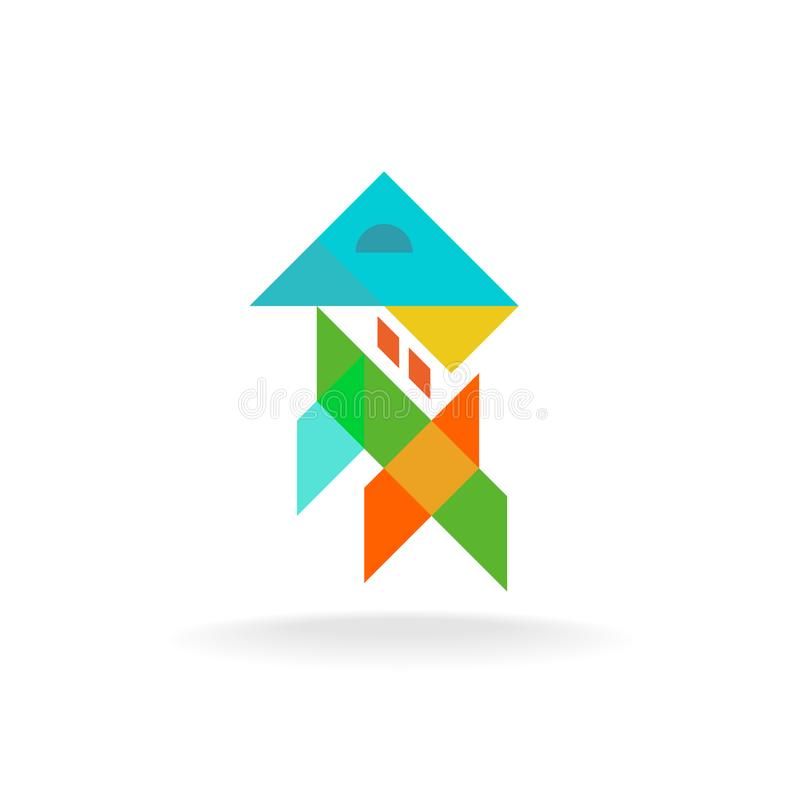 Abstract colorful shapes house appartment logo. Abstract colorful shapes house appartment exterior and interior design logo. Transparency are flattened royalty free illustration