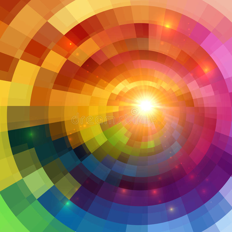 Abstract colorful shining circle tunnel background royalty free illustration