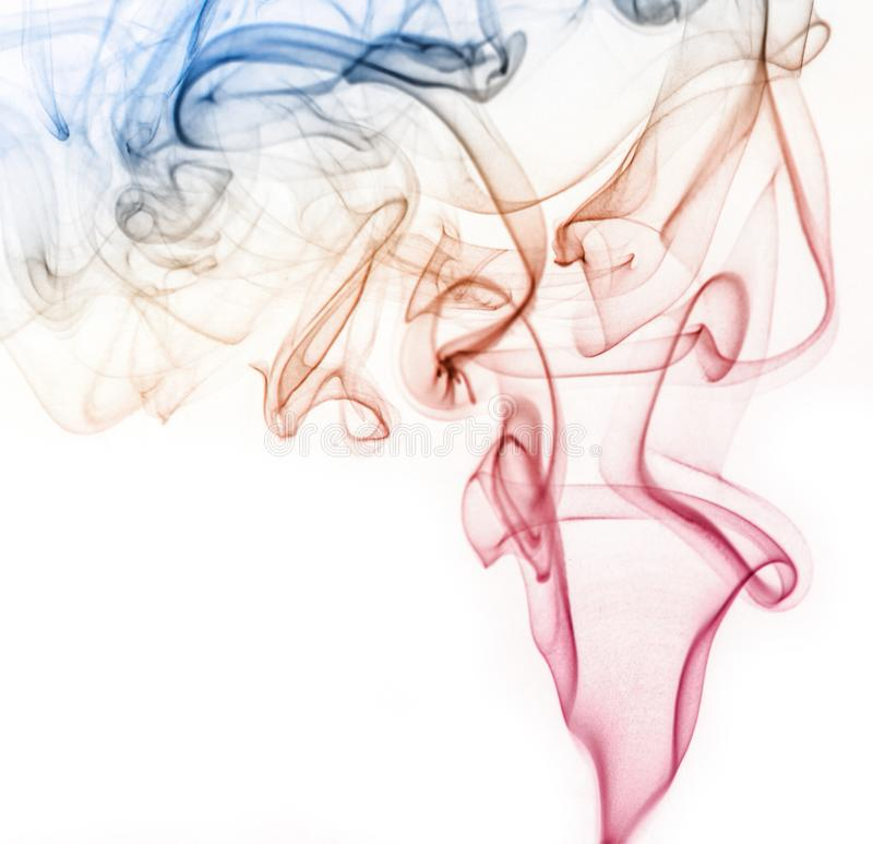 Abstract colorful smoke isolated on white background, fire design.  royalty free stock images