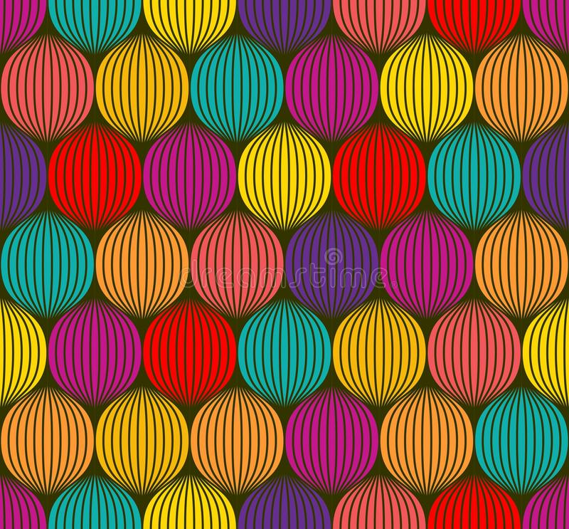 Abstract colorful spheres seamless 3d like texture. Overlapping circles , ball pit seamless pattern. Vector illustration stock illustration