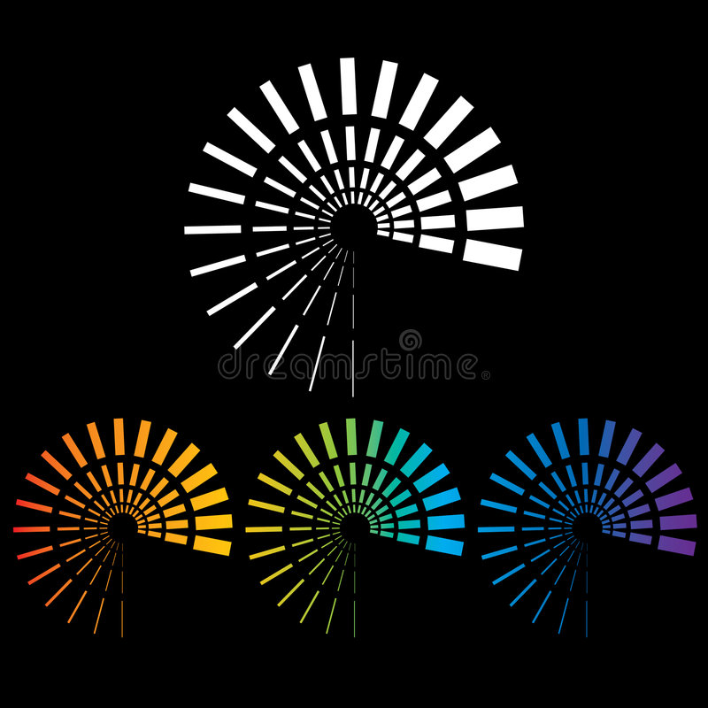 Abstract Colorful Spirals. A set of 4 abstract colorful spirals vector illustration