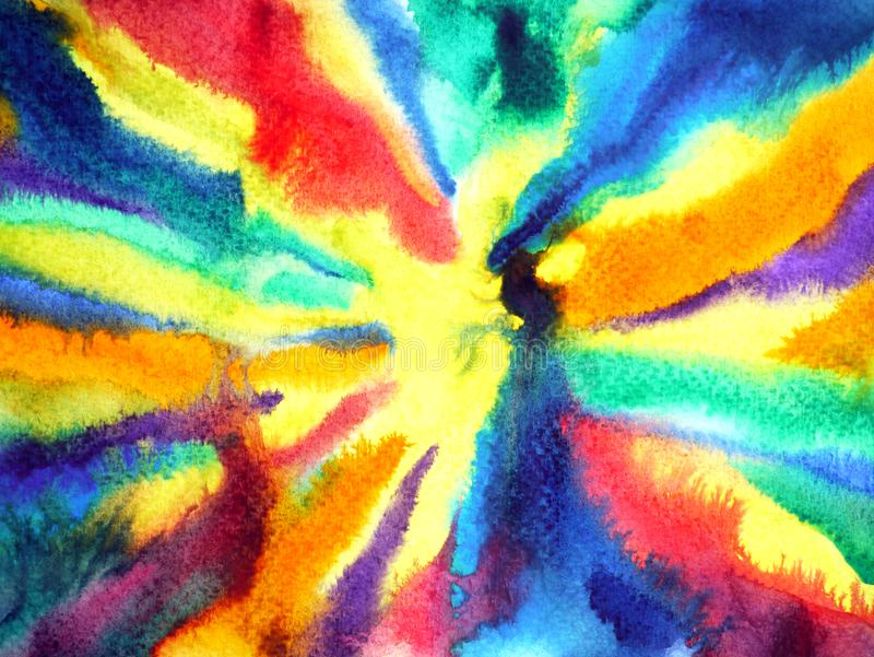 Abstract colorful splash power energy watercolor painting illustration royalty free stock photo