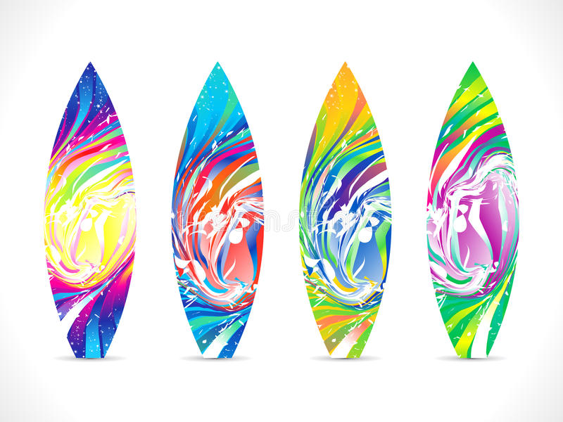 Abstract colorful surf board template stock illustration