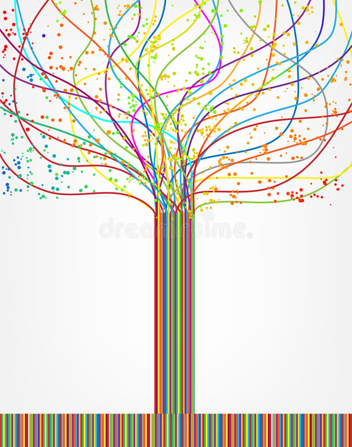 Abstract colorful tree from lines. Vector stock illustration