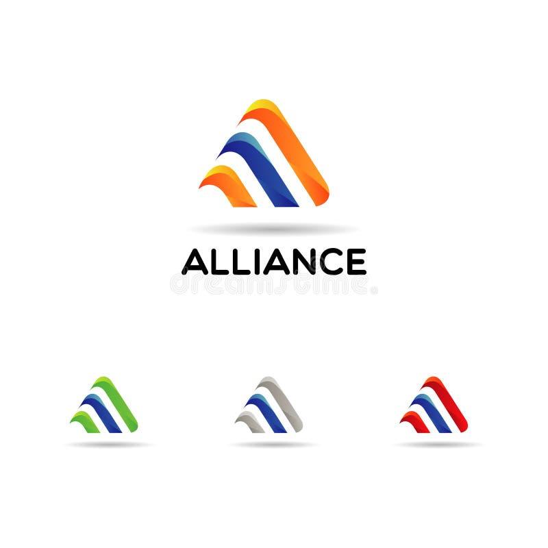 Abstract Colorful Triangle Company Logo With Color Set ilustración del vector