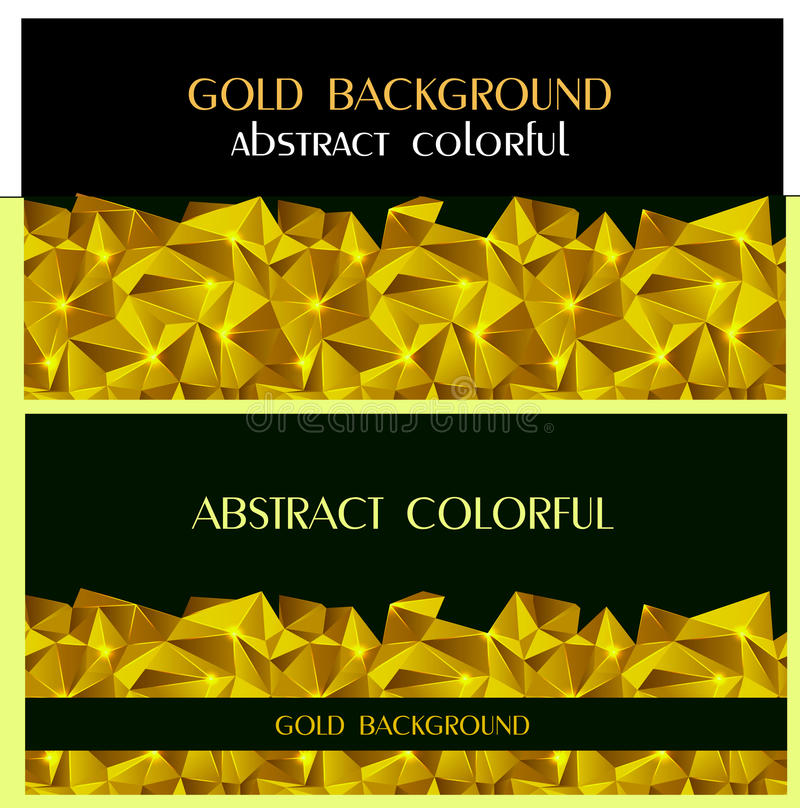 Abstract colorful triangle geometric gold background cover template brochure report. modern design banner stock illustration