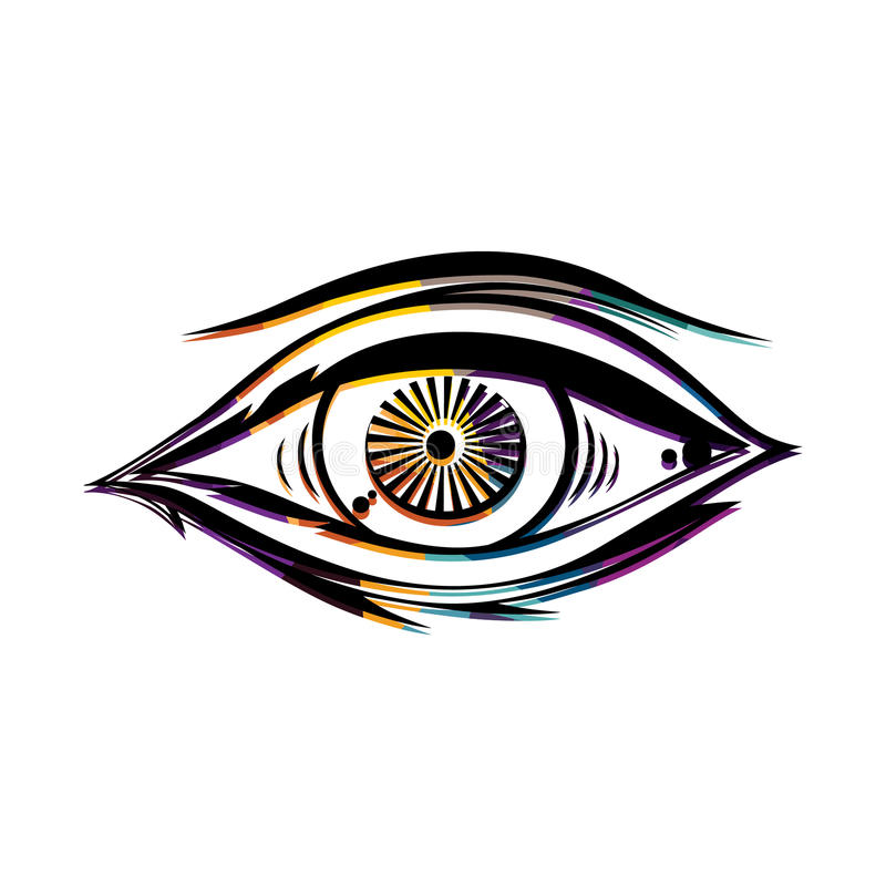 Abstract Eye Colorful Triangle Geometrical Illustration