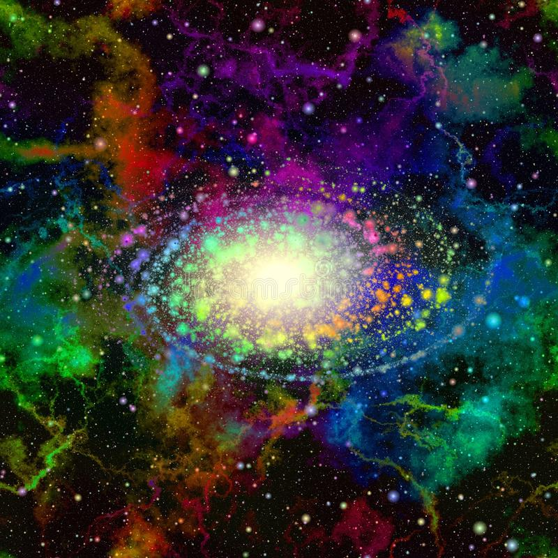Abstract colorful universe. Nebula starry sky. Multicolor outer space. Shiny galactic center. Supernova explosion. Texture back royalty free illustration