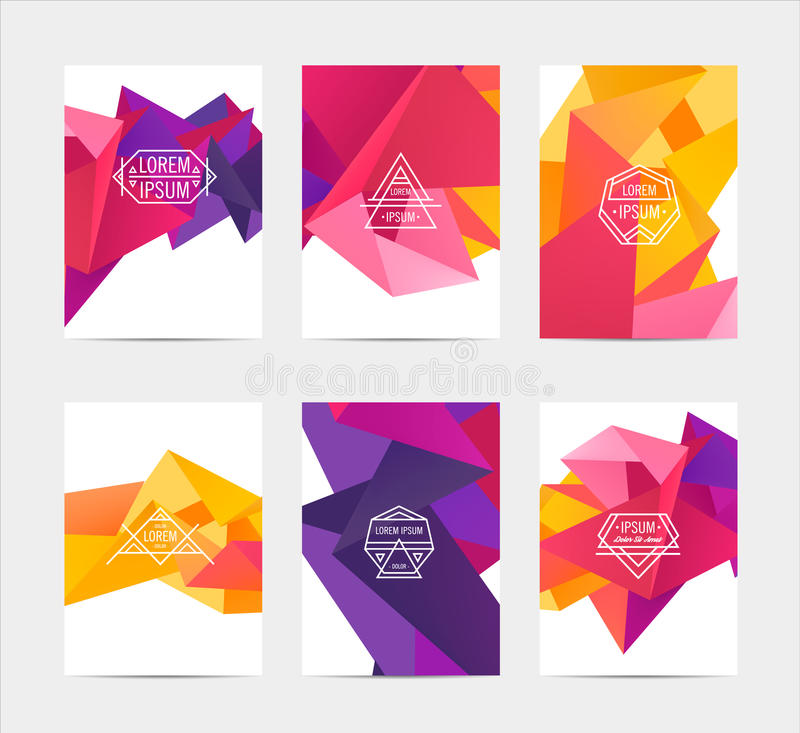 Abstract colorful user interface template set. Collection labels in geometric triangular pattern with trendy white thin line logos vector illustration