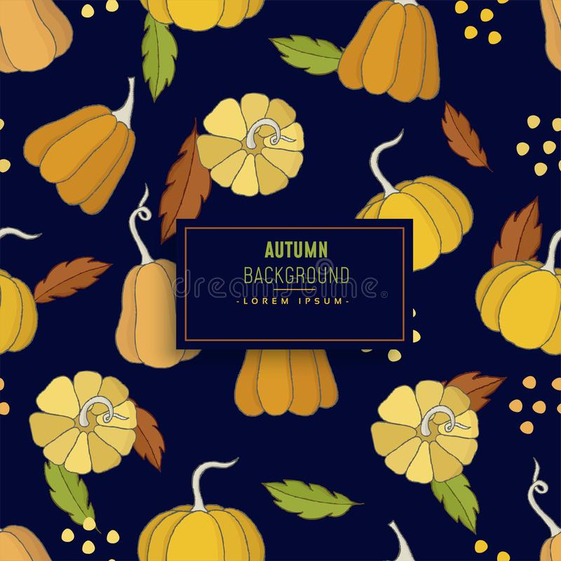 Abstract colorful vector autumn or fall background. Abstract colorful vector autumn or fall on dark blue background royalty free illustration