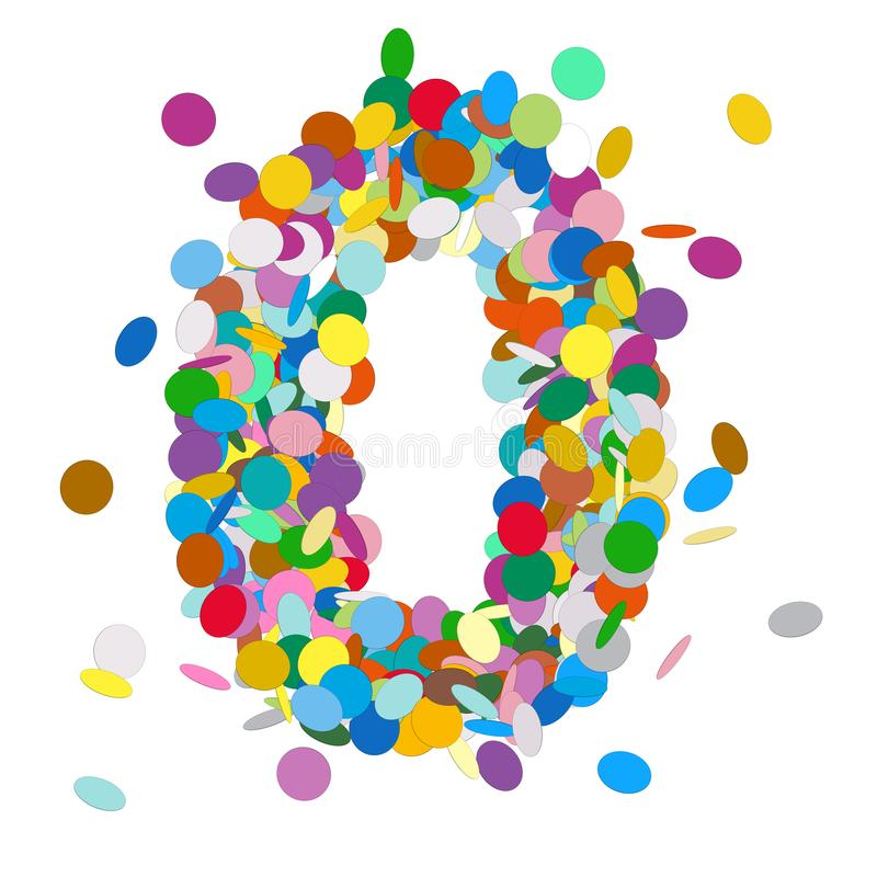 Number 0 Font - Beautiful Abstract Colorful Vector Confetti Sign - Number Zero - Null. For Birthday Party, New Years Eve or other Festive Events. All Numbers 0 stock illustration