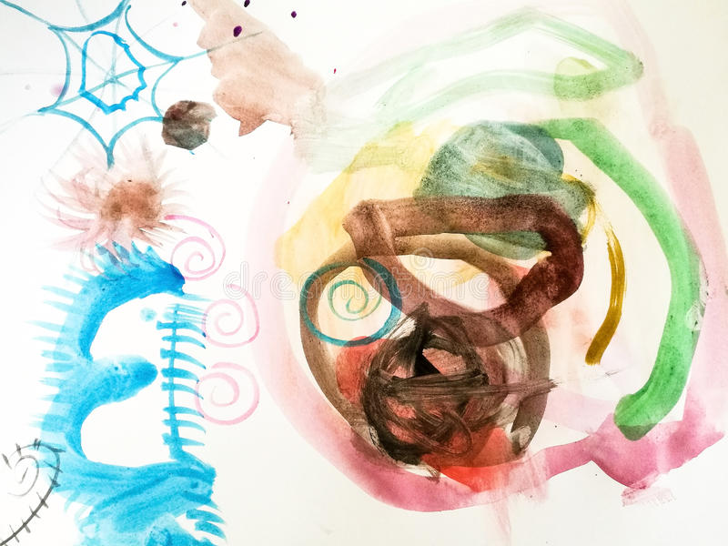 Abstract colorful watercolor painting. Abstract image of colorful watercolor painting by 3 years old child royalty free illustration