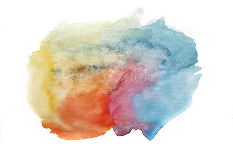 Abstract colorful watercolor splashing, Abstract hand drawn watercolor brush blotches and stains isolated illustration on a white. Background royalty free illustration