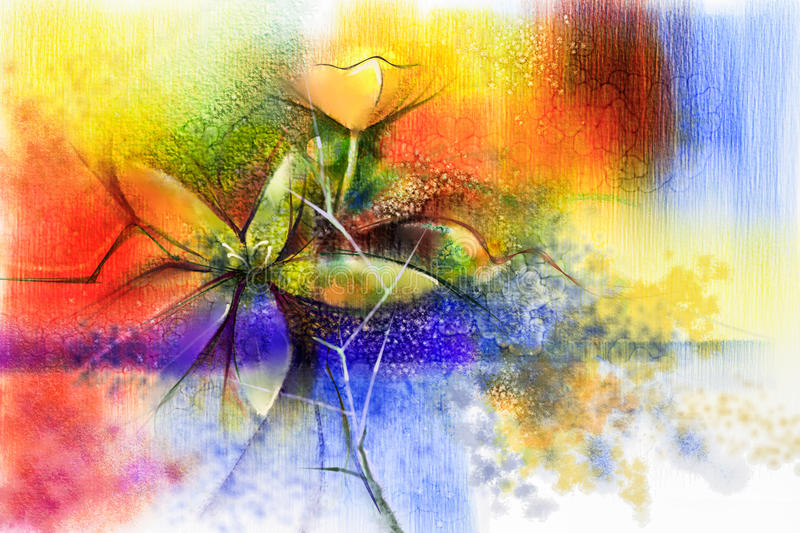 Abstract colorful watercolour paintings for background stock illustration