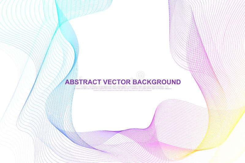 Abstract colorful wave lines background. Circular wireframe mesh element. Geometric template for your design brochure. Flyer, report, website, banner. Vector royalty free illustration