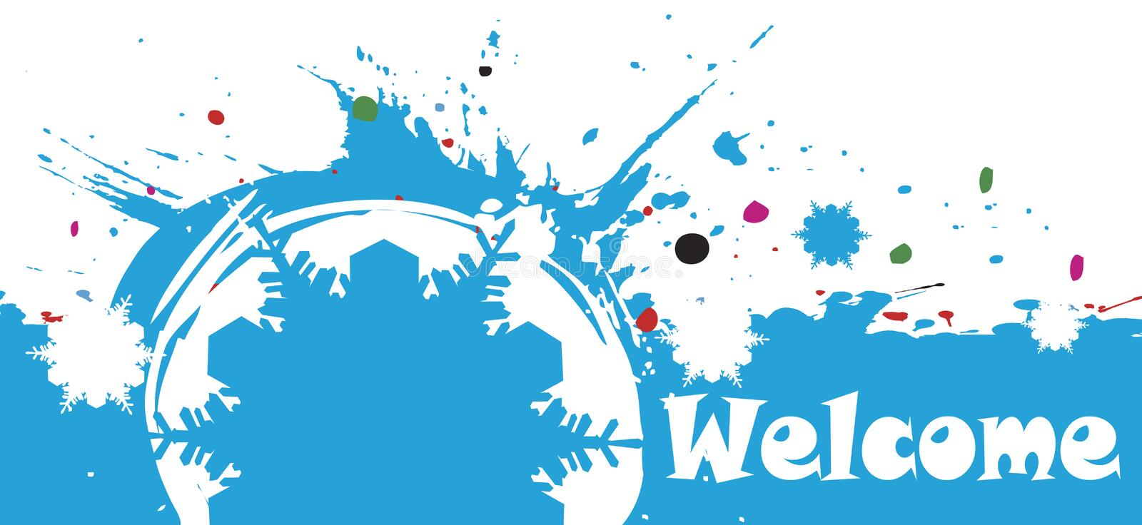 Abstract colorful winter background.Welcome banner stock illustration
