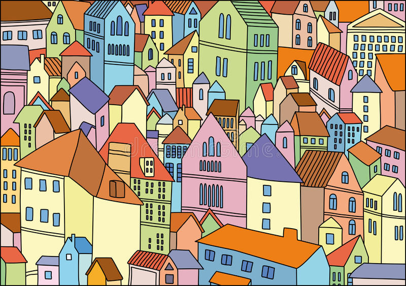 Abstract colour drawing of city background royalty free illustration
