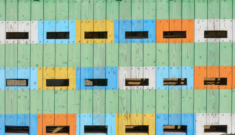 Abstract coloured beehives royalty free stock image