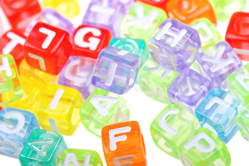Abstract colourful alphabet blocks background stock images