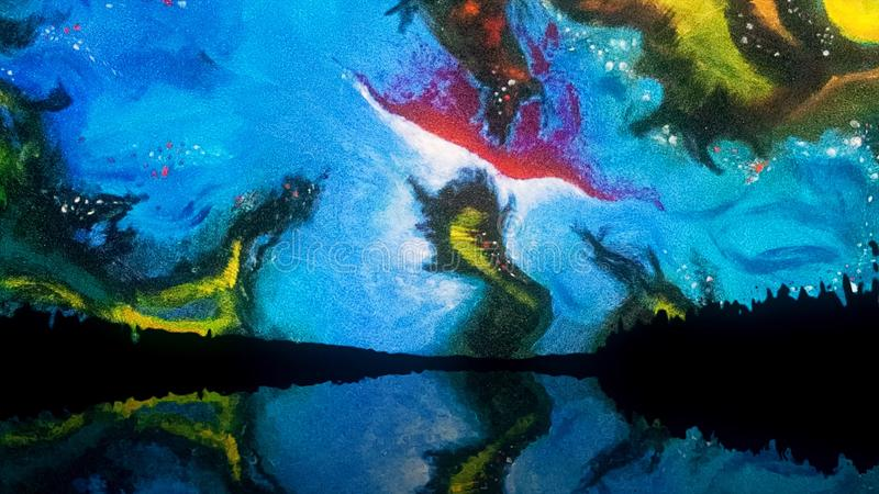 Abstract colourful sky with unusual shapes and forms reflected in the lake at night, Salvador Dali style. Abstract. Abstract colourful sky with unusual shapes royalty free illustration