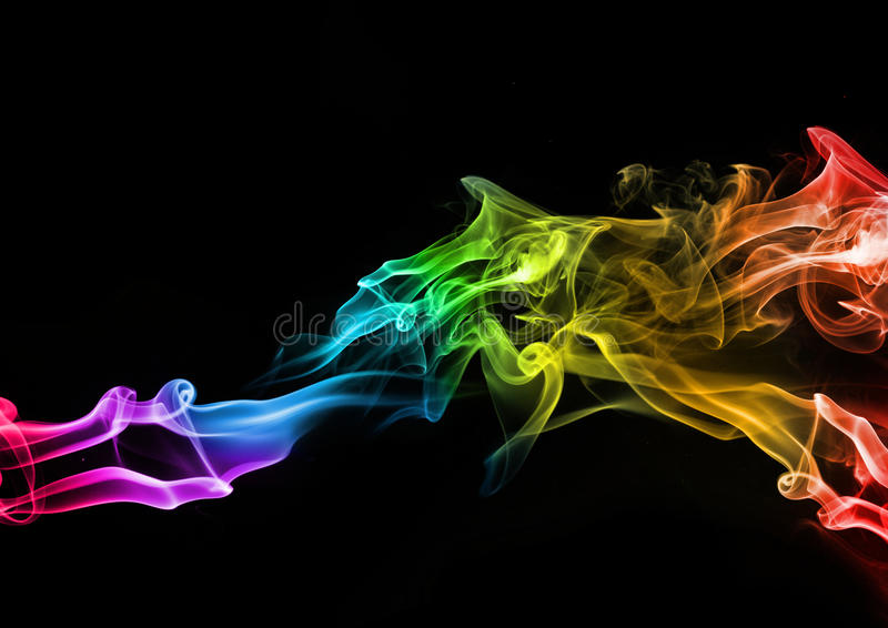Abstract Colourful Smoke. Abstract somke on a black background