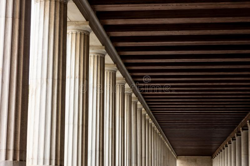 Abstract columns and shadows of thousands years old Stoa of Attalos in Greek Athens. Abstract columns and shadows of thousands years old Stoa of Attalos in Greek royalty free stock photos