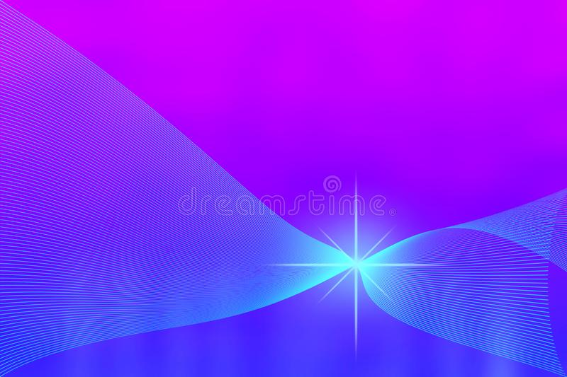 Shiny Sparkle and Curved Mesh in Blurred Blue and Purple Background stock image