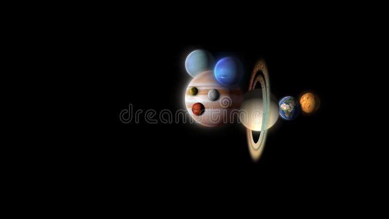 Abstract comic planets flying isolated on black royalty free illustration