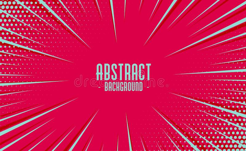 Abstract comic zoom motion lines with halftone background royalty free illustration
