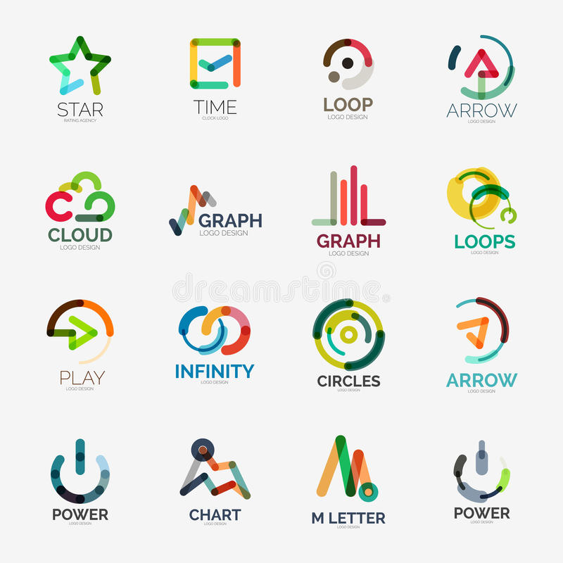 Abstract company logo vector collection royalty free illustration