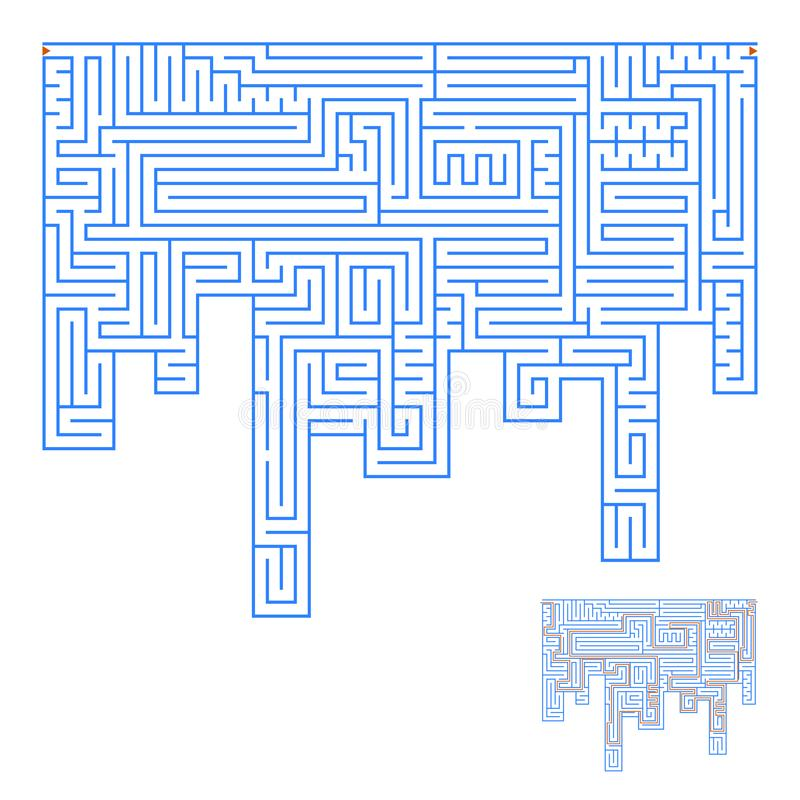 Abstract complex labyrinth. An interesting game for children and adults. Simple flat vector illustration isolated on white backgro stock illustration