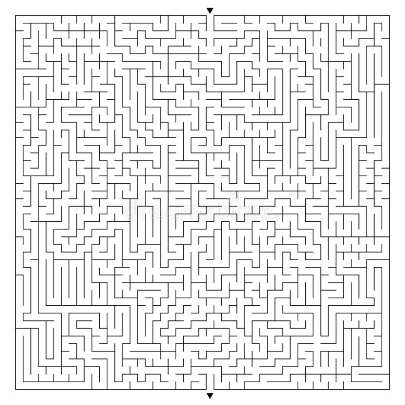 Abstract complex square maze with entrance and exit. An interesting game for children and adults. A mysterious puzzle. Vector illu stock illustration