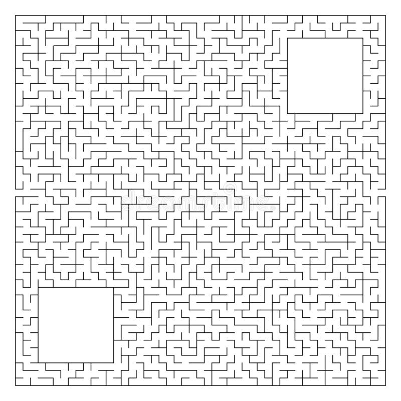 Abstract complex square maze with entrance and exit. An interesting game for children and adults. Vector illustration isolated on. White background. With a stock illustration