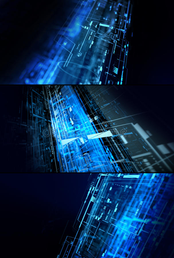 Abstract complex technology concept set. Set of three complex 3D illustrations futuristic technology backgrounds stock illustration